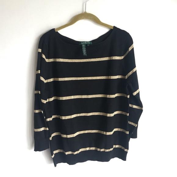 8b230538 Ralph Lauren Black Glitter Gold Strip Sweater SzXL